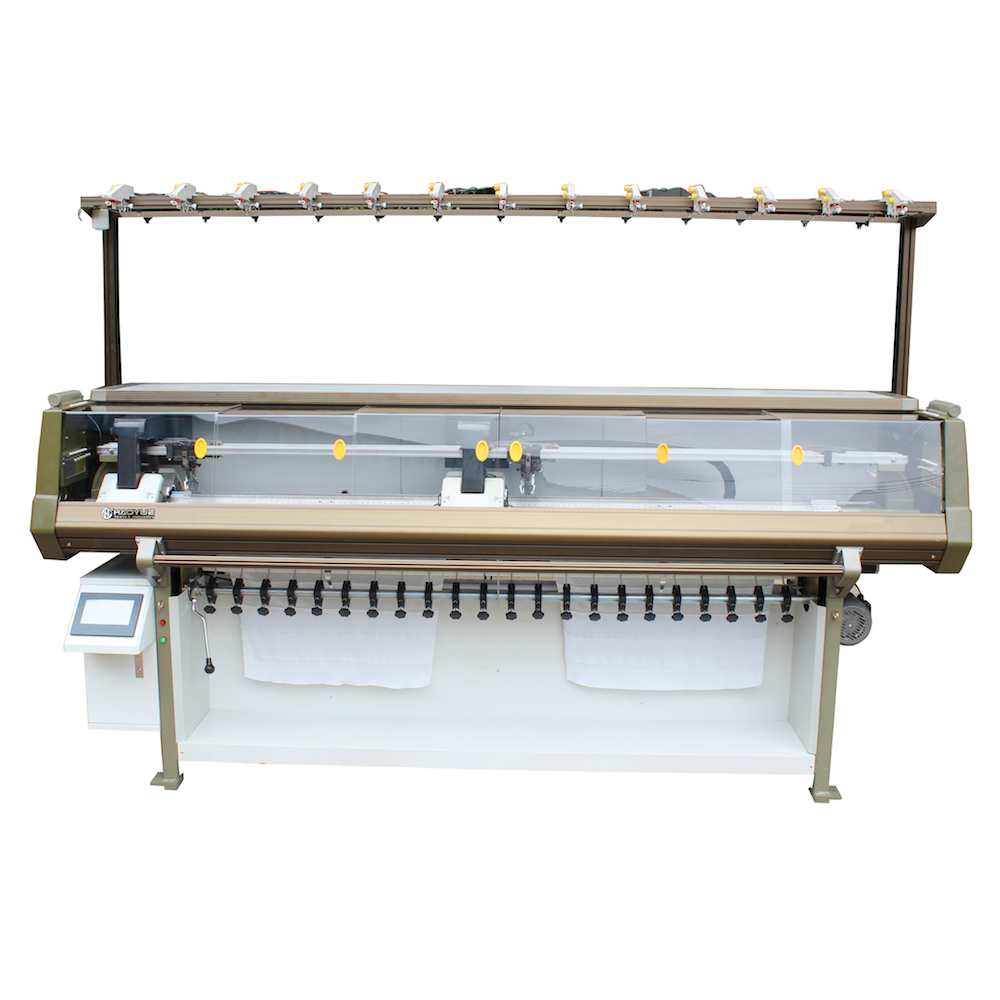 Double carriage Plain designs collar knitting machine